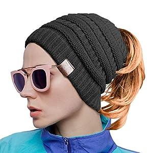 8cd23964f YANXI Hat Winter Hats Women Knit Wool Hats Beanie Ponytail Hole ...