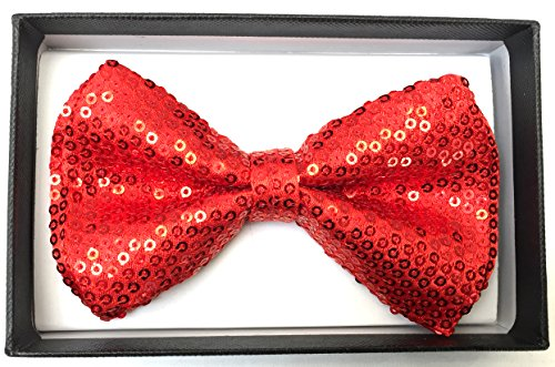 The Bowtie Shop - Pre-tied Adjustable Tuxedo Bow Ties, Mens (Red Sequin Bowtie)