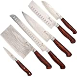 Woodworking Project Kit -ZHEN Premium Damascus Kitchen Knife Blank Kits Set of 6