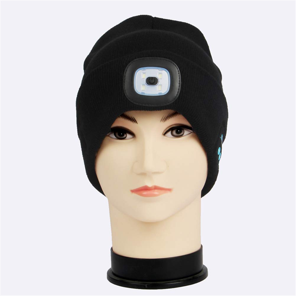 40ff975bf5a GFEU Beanie Hat with Light And Bluetooth Sports   Outdoors Warm Wireless  USB Rechargeable Led Knit ...