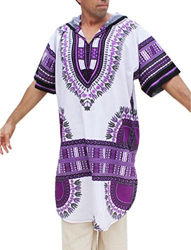 RaanPahMuang African Dashiki Long Urban Warlock Jacket Hood Hoody Fashion, X-Large, White On Violet by RaanPahMuang