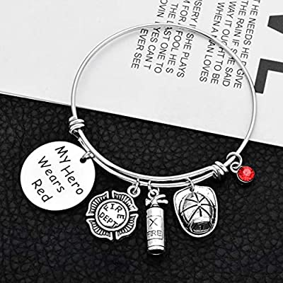 Firefighterman//Police Officer Gift My Hero Wears Red//Blue Braclet//Keychain