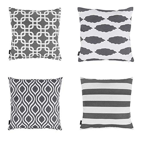Willow & Smith Set of 4 Cotton Pillow Covers for Throw Pillows Square Sleet Geometric Patterns Cushion Covers for Sofa Home Bedding Decor -
