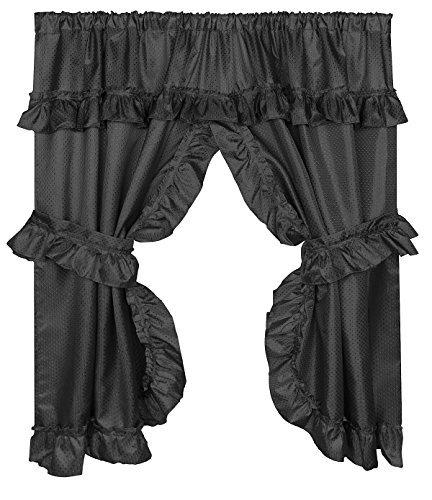 Curtain Bathroom Window Fabric (Home Bargains Plus Diamond Dot Ruffled Fabric Bathroom Window Curtain with Attached Valance and Tiebacks - Black)