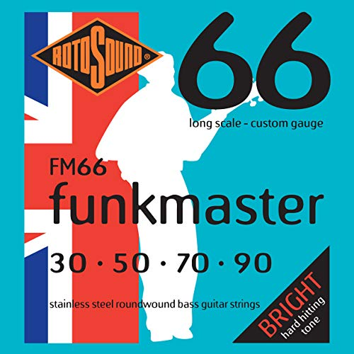 Strings Gauge Light Bass - Rotosound FM66 Swing Bass 66 Stainless Steel Funkmaster Bass Guitar Strings (30 50 70 90)