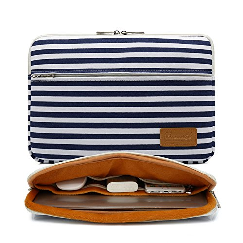 Canvaslife Breton Stripe Pattern 360 Degree Protective 13 inch Canvas Laptop Sleeve with Pocket 13 Inch 13.3 Inch Laptop -