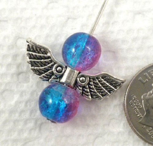 Beading Station 20-Piece Angel Wing Charm Beads, 20mm-F, Tibetan (Wings Charm Bead)