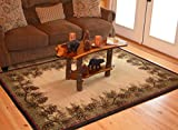 Cheap Rustic Lodge Pine Cone Border Brown 8×10 Area Rug, 7'10×9'10