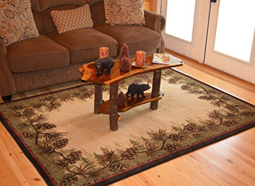 Rustic Pinecone - Rustic Lodge Pine Cone Border Brown 5x7 Area Rug, 5'3x7'3