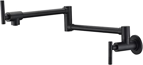SUMERAIN S6111OI Bronze Pot Filler Faucets Wall Mount, Double-Jointed Swing and Dual Shut-off Levers