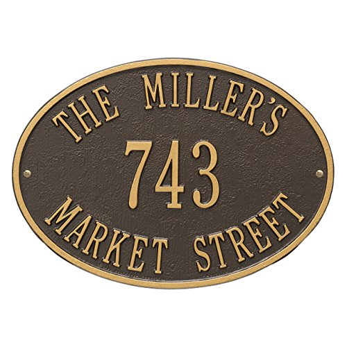 "Custom Whitehall Aluminum 3 Lines Hawthorne Oval Standard Address Plaque 14.25""W x 10.25""H"