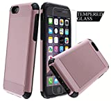 Dual Layer Armor [Free Tempered Glass Screen Protector][ Drop Protection] Full Body Protective Hybrid Case cover for Apple iPhone 6s Plus (Rose Gold)