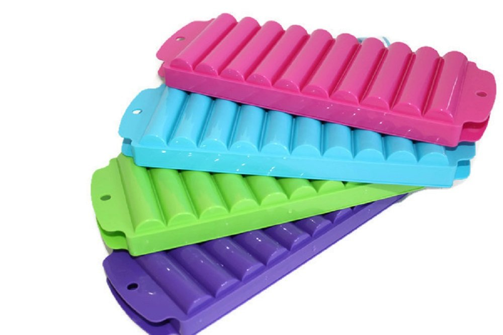 4 Ice Rolls Making Trays with Covers - Makes Perfect Ice Cube Sticks For Bottled Beverages, Water Bottles, Sport Drinks, Bottled Soda. Makes a Total of 40 Ice Tubes.
