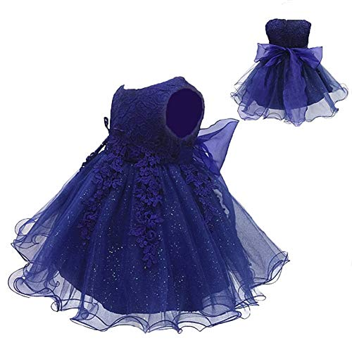LZH Baby Girls Birthday Christening Dress Baptism Wedding Party Flower Dress (5801-Navy,18M)