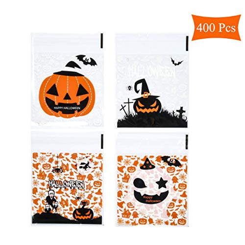 Homemade Halloween Snacks (Beautyflier 400 Pcs Self Adhesive Halloween Candy Cookie Bags 4 Different Style Cellophane Treat Bags for Homemade Crafts Bakery Biscuit Chocolate Snacks Dessert)