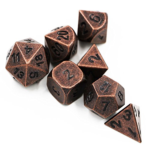 Patina Pits (S&P Dungeons & Dragons 7pcs/set Creative Multi-faceted D&D Metal Dice DND Different Red Copper Color)