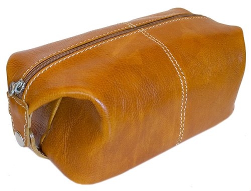 Floto Olive Brown Leather Travel Dob (or Dopp) Kit by Floto