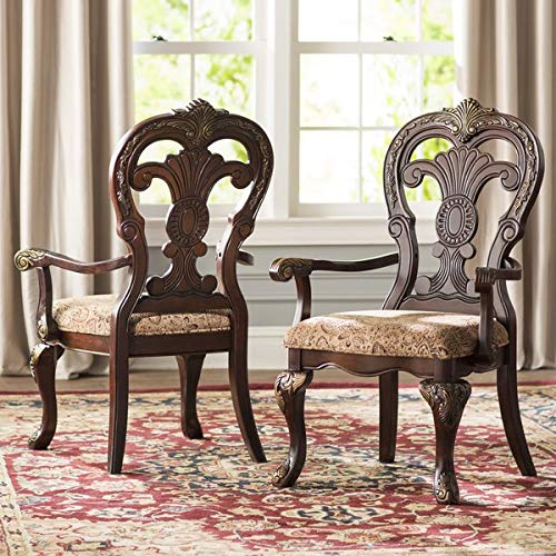 Wood Dining Chair with Polyester Upholstery and Curved Legs - Dining Chair with Queen Anne Back - Set of 2 - Dark Brown