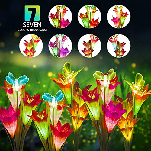 DUUDO Solar Garden Stake Lights, Upgraded Solar Powered Flower Lights with 12 Lily Flowers & Butterfly, 7-Color Solar Lights Outdoor Decorative for Patio, Backyard, Garden (Red & Purple, 4 Packs) (Lights Garden Decorative)