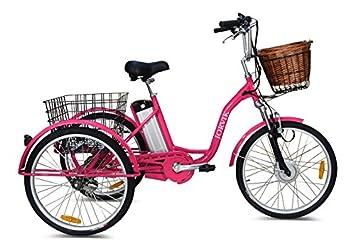 Triciclo eléctrico Jorvik de 24 pulgadas, para adultos, de aluminio, 250 W o 36 V, rosa: Amazon.es: Deportes y aire libre
