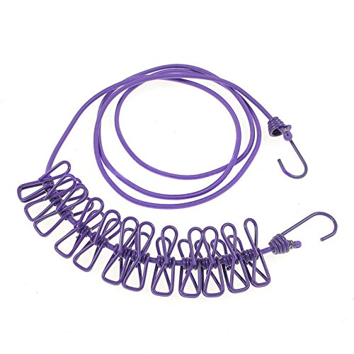 NUZAMAS 12 Pegs Clips Clothesline Portable Expandable Adjustable Retractable Airer for Camping Travel Clothes Laundry Drying Outdoor and Indoor Use Purple
