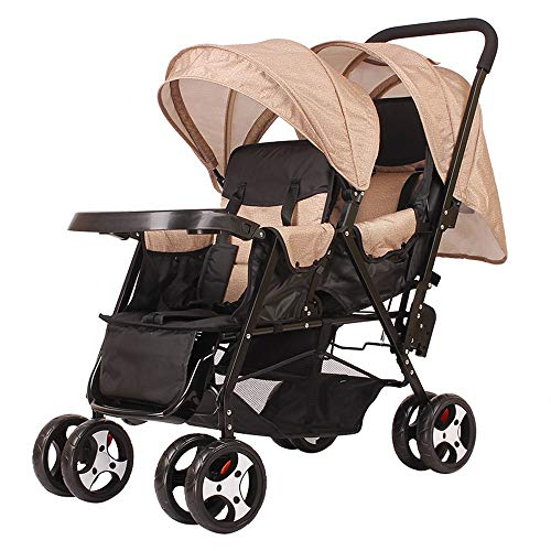 Laz Double Stroller Convenience Urban Twin Carriage Stroller Tandem Collapsible Stroller All Terrain Double Pushchair for Toddler Girls and Boys Stable Stroller Frame (Color : C)
