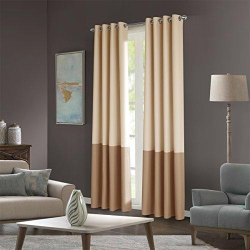 Dreaming Casa Two Tones Room Darkening Curtains 84 inches Window Treatment Grommet Top Drapes 2 Panels Beige & Khaki 52''W X 84''L