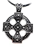 Viking Pendant - Sunwheel Solar Cross Norse Runes, Pewter Color, Celtic Cross Style