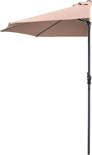 Tangkula 9Ft Outdoor Umbrella Patio Bistro Wall Balcony Door Window Sun Shade Market Umbrella Beige