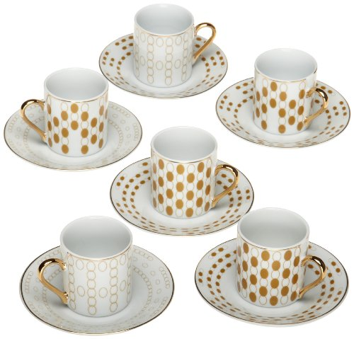 Yedi Houseware Classic Coffee and Tea Polka Dot Espresso Cups and Saucers, Gold