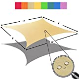 Alion Home 8' x 12' Waterproof Woven Sun Shade Sail in Vibrant Colors (8 ft x 12 ft Retangle) (Desert Sand)
