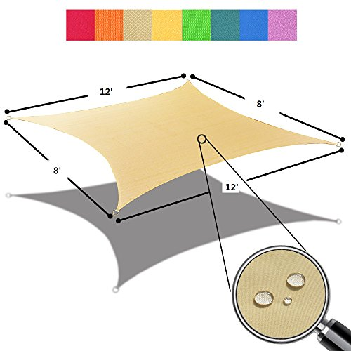 Alion Home 8' x 12' Waterproof Woven Sun Shade Sail in Vibrant Colors (8 ft x 12 ft Retangle) (Desert Sand) by Alion Home