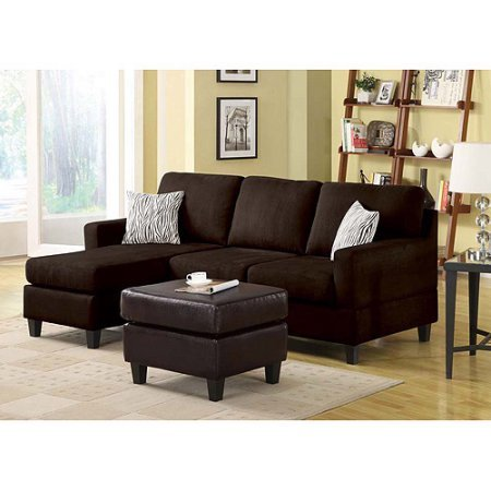 Vogue Microfiber Reversible Chaise Sectional Sofa, Chocolate