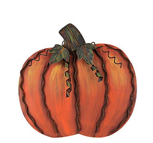 YK Decor Fall Harvest Metal Leaf Pumpkin - Orange Halloween Wall decor