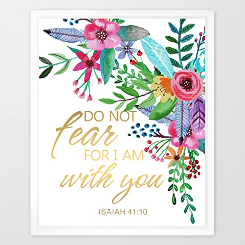 Eleville 8X10 Do not fear, for I am with you Real Gold Foil and Floral Watercolor Art Print (Unframed) Bible Quote Bible Verses Kids Wall Art Home Decor Inspirational Holiday Birthday Wedding WG035