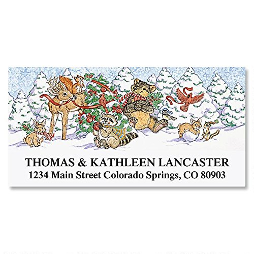 Forest Friends Christmas Deluxe Address Labels - Self-Adhesive, Flat-Sheet Return Labels, 1 1/8 x 2 1/4 Set of 144