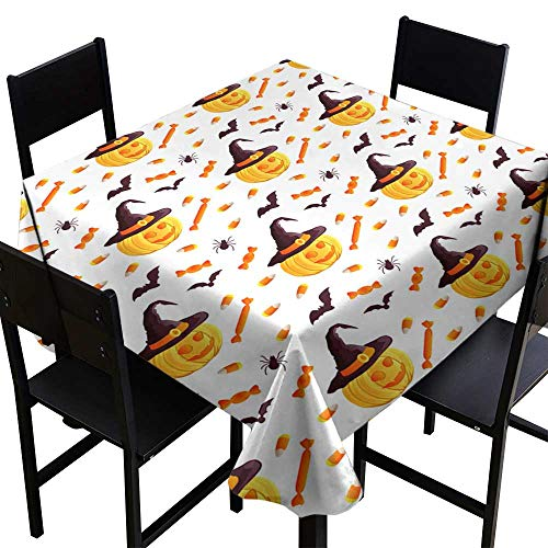 (square tablecloth plastic Festive seamless pattern Halloween characters jack o lantern witch hat bat spider corn candy Vector illustration on a white background Usable for design packaging wallpaper)