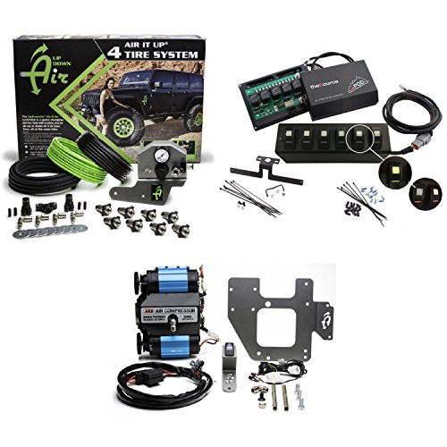 - Up Down Air 22-7810/69-0717 Air it up 4 Tire On Board Air Delivery w/ARB CKMTA12 Compressor & sPOD 600-07LT-LED-G Double LED Contura Rocker All Green 6 Switch & Source System for 07-08 Wrangler JK