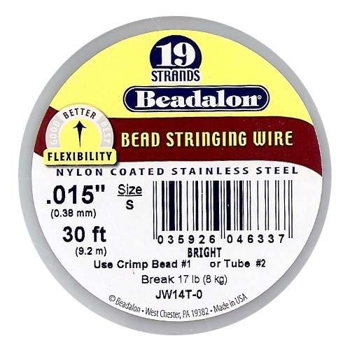 Beadalon JW14T-0 Stringing Wire 19-Strand .015-Inch (.38-Millimeter) Diameter 30-Feet/Pkg, Bright ()