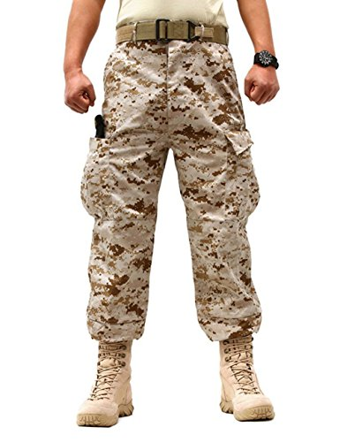 ZLSLZ Men's Military Tactical Casual Camouflage Multi-Pocket Cargo Pants Trousers (M/W32, Desert Camo) (Military Desert Camo)