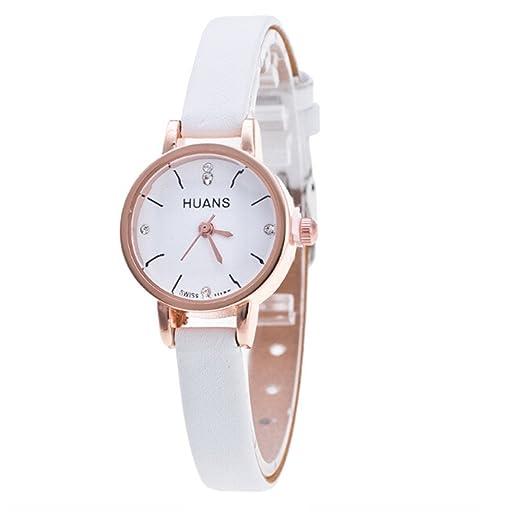 Gusspower Reloj de Pulsera de Cuarzo para Mujeres, Correa de Acero Cuero Color Moda Simple