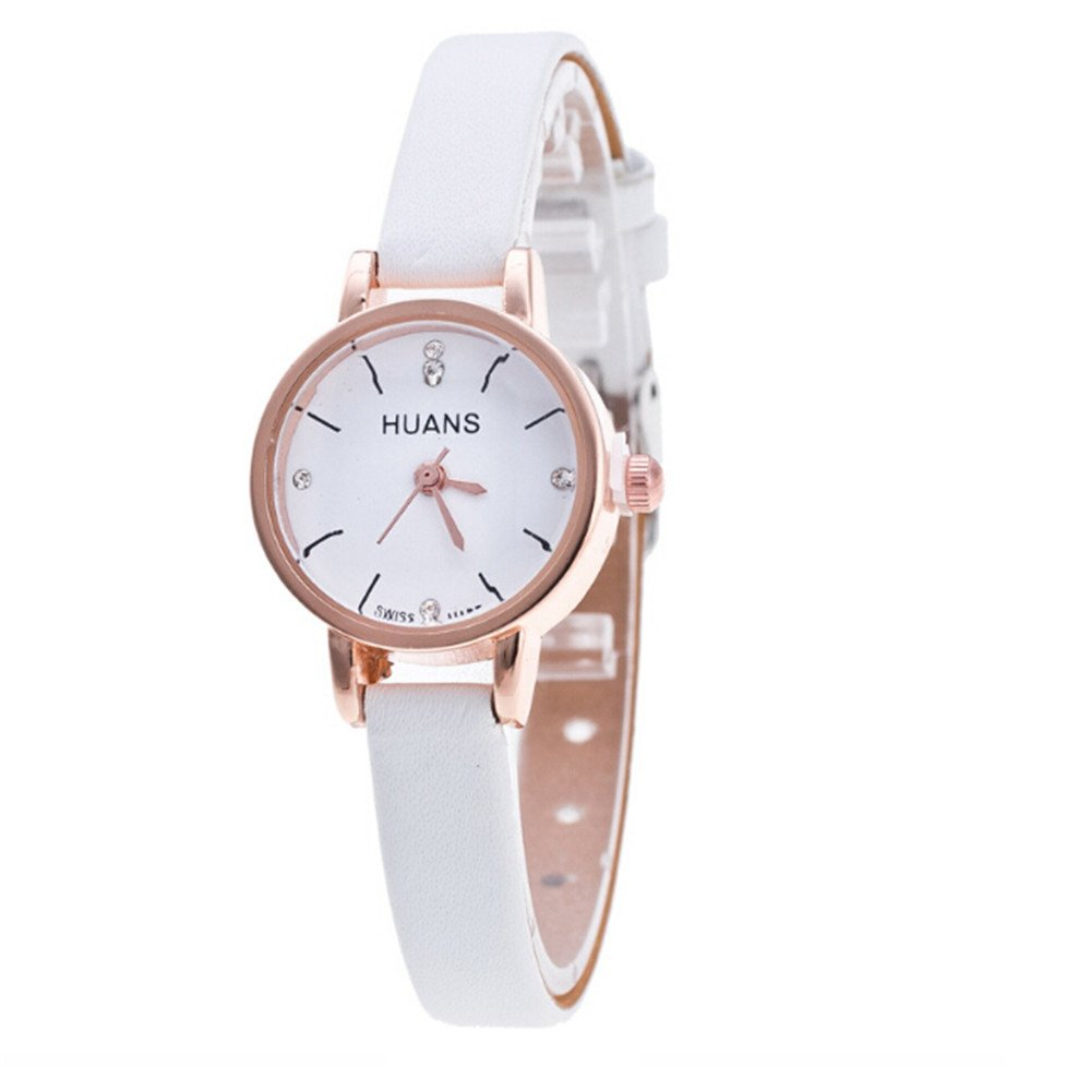 Sunyastor Womens Classic Simple Leather Analog Quartz Wrist Watch Case Arabic Numerals Fine Strap Watches for Birthday Gifts White