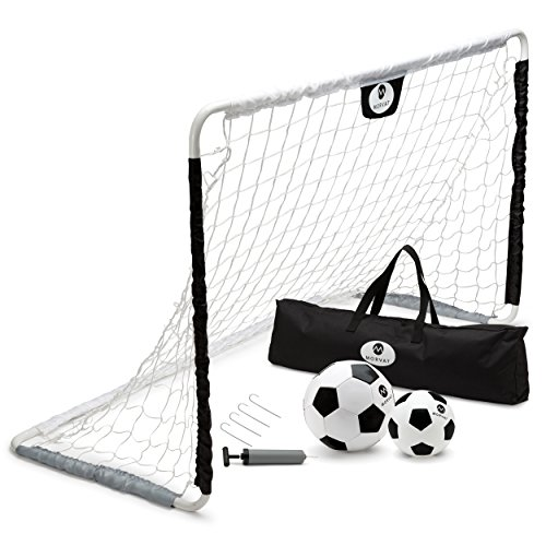 Goals Indoor Soccer Portable - Morvat Premium Portable Soccer Goal Set for Kids | Outdoor Activity for Children | Indoor and Outdoor | Soccer Net, 2 Soccer Balls and Pump | Color: Black/White
