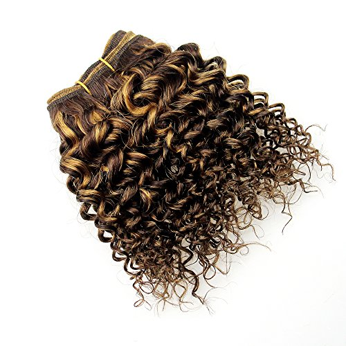 Two Tone Peruvian Hair Bundles Kinky Curly Wave Double Drawn f4/27 Sew In Human Hair Wave 100% Peruvian Virgin Hair Curly Weave 4 Bundles Light Brown To Blonde