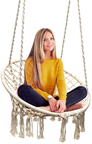 Sorbus Hammock Chair Macrame Swing, 265 Pound Capacity, Perfect for Indoor/Outdoor Home, Patio, Deck, Yard, - Hanging Girl