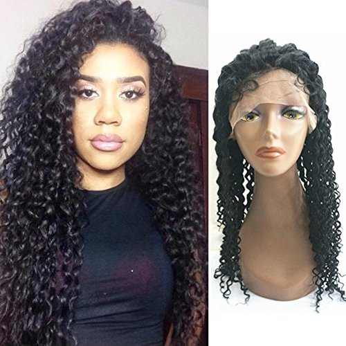 Curly Human Hair Silk Top Glueless Full Lace Wigs for Black Women Curly Hair Brazilian Virgin Hair Wigs (18'', #1) by Enoya