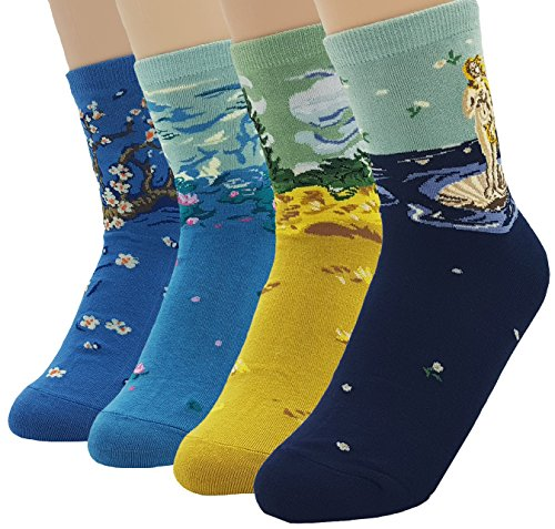 JJMax Women's Art Masterpiece Painting Collection Socks Set, 4 Famous Paintings ,One - Painting Set Masterpiece