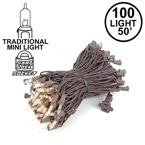 Novelty Lights 100 Light Clear Christmas Mini String Light Set, Brown Wire, Indoor/Outdoor UL Listed, 50' ()