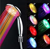 Glamorway 7 Colors LED Changing Shower Head Temperature Sensing Shower Nozzle Automatic Control Sprinkler