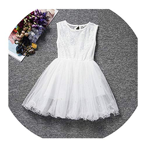 Baby Girls Dress Flower Lace Hollow Princess Kids Dresses for Girl Princess Girls Party Frocks Children Clothing,White1,7